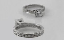 Hand Engraved Platinum 1 carat Princess Cut with Bead Set Diamond Band