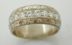 14KW Diamond Bead Set Band with Hand Engraving