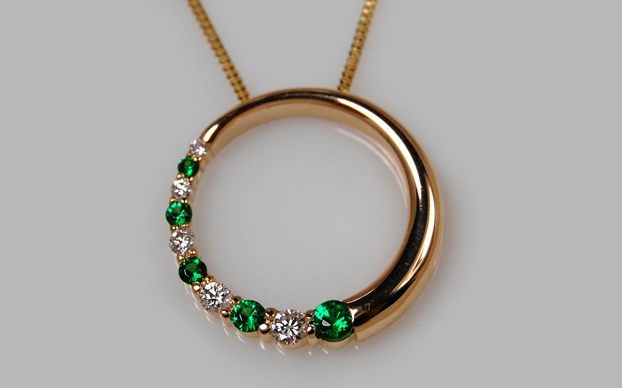 Tsavorite Garnet & Diamond Circle