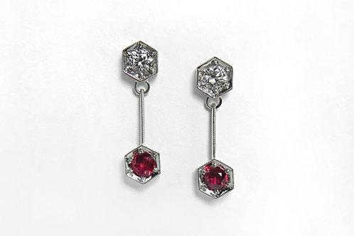14KW Ruby and Diamond Dangle Earrings