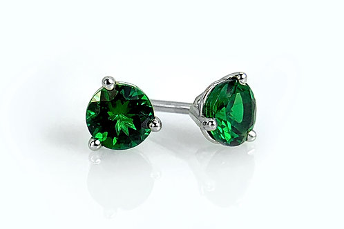 14KW Tsavorite Garnet Martini Stud Earrings