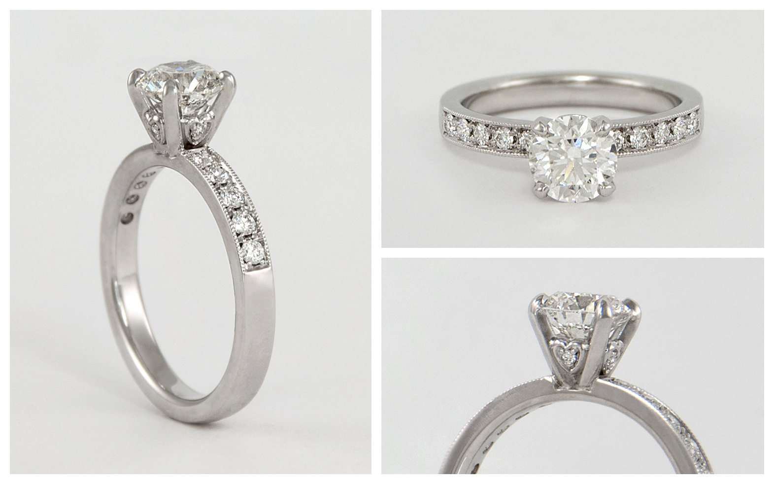 14KW Diamond Engagement Ring with Bead Set Band and Heart Accents