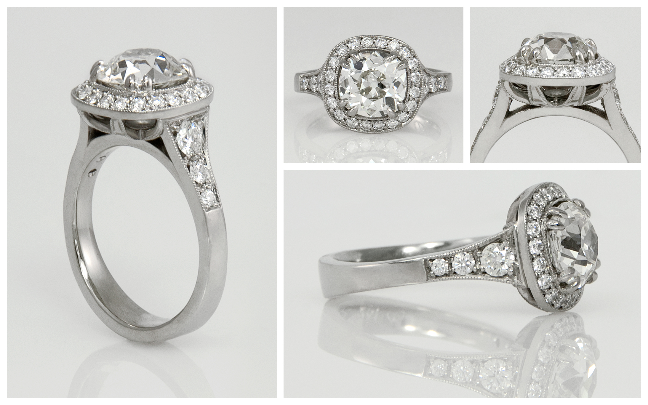 Old European Cut Halo Engagement Ring