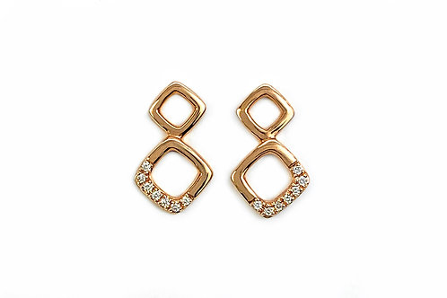 14KR Square Stack Stud Earring Earrings with Diamond Accent