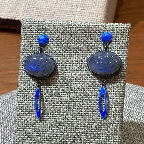 Oxidized Sterling Silver, 14KY and Blue Enamel Moondance Earrings w/ Labradorite