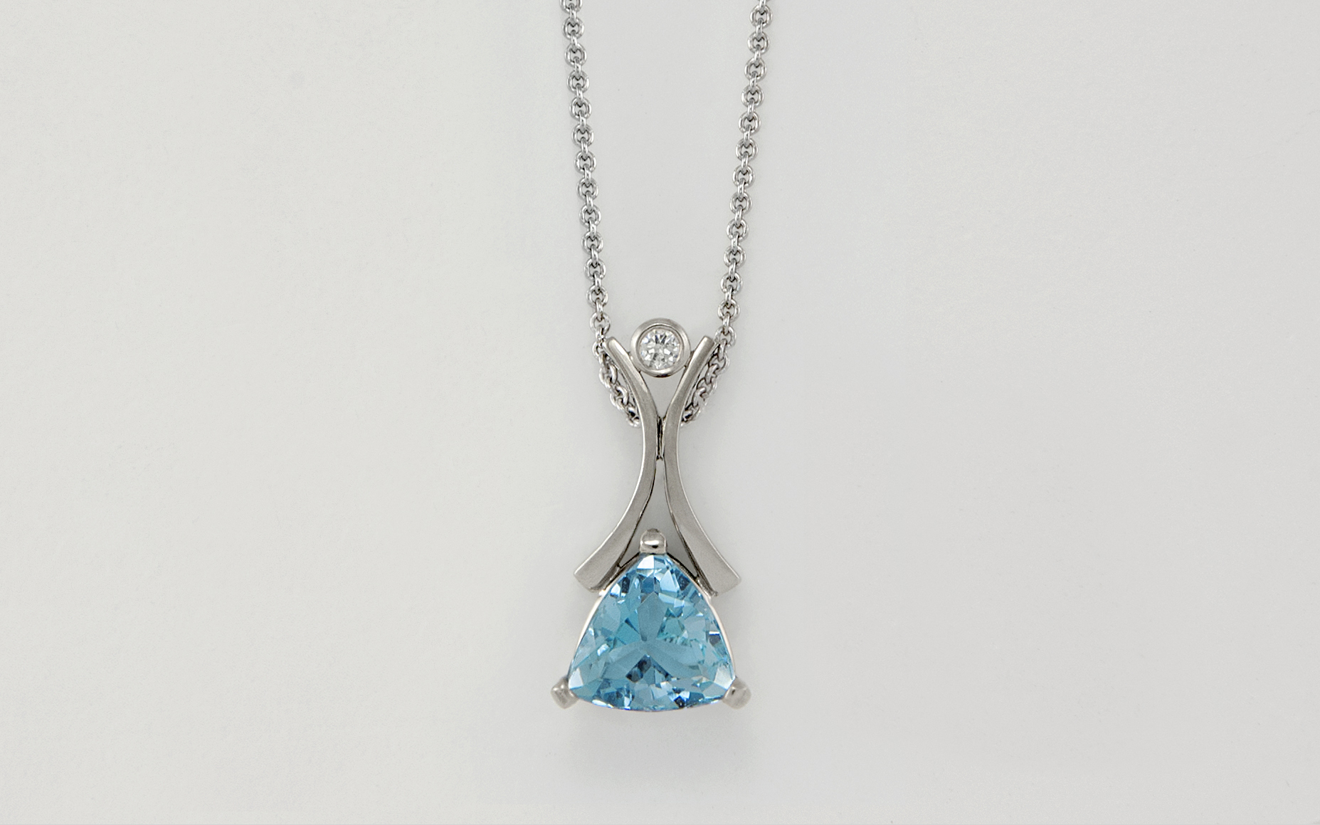 Trillion Cut Aquamarine Pendant