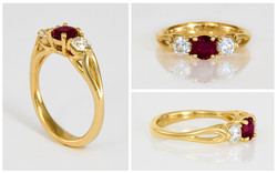 Ruby and Diamond Open Shank Ring