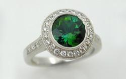 Tourmaline & Diamond Halo Ring
