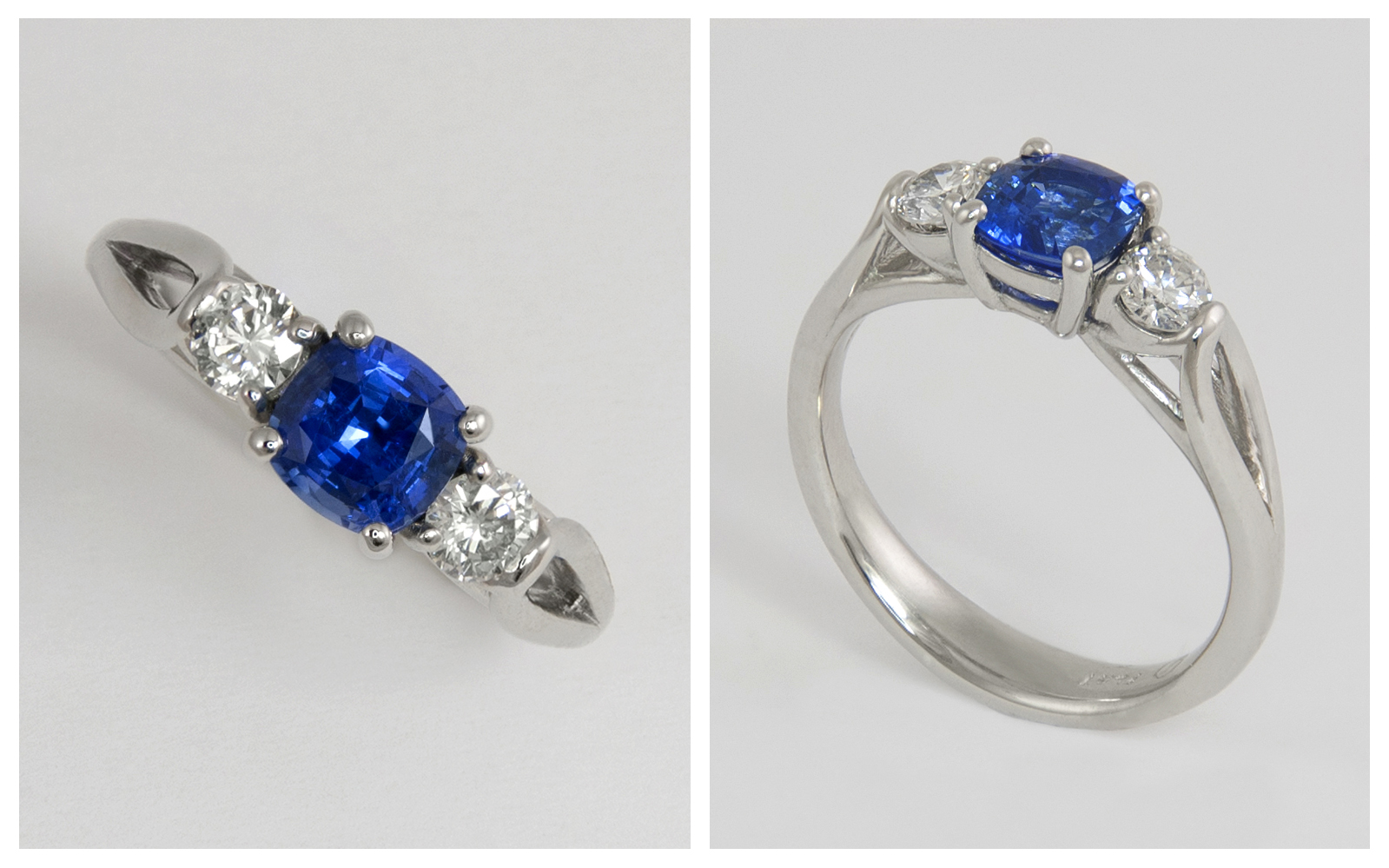 Platinum Cushion Cut Sapphire and Diamond Ring
