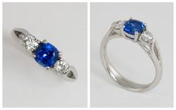 Platinum Cushion Cut Sapphire and Diamond Ring