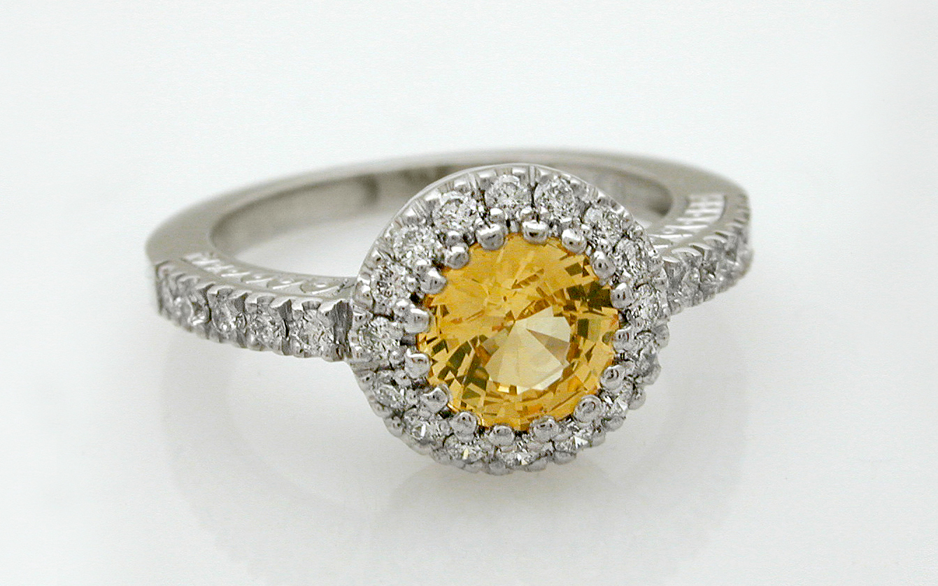 Hand Engraved Yellow Sapphire with Diamond Accents