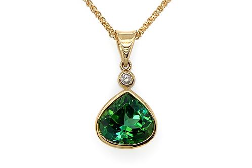 18KY Pear Shaped Tourmaline and Diamond Pendant
