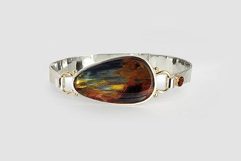 Sterling Silver & 14KY Pietersite Bracelet