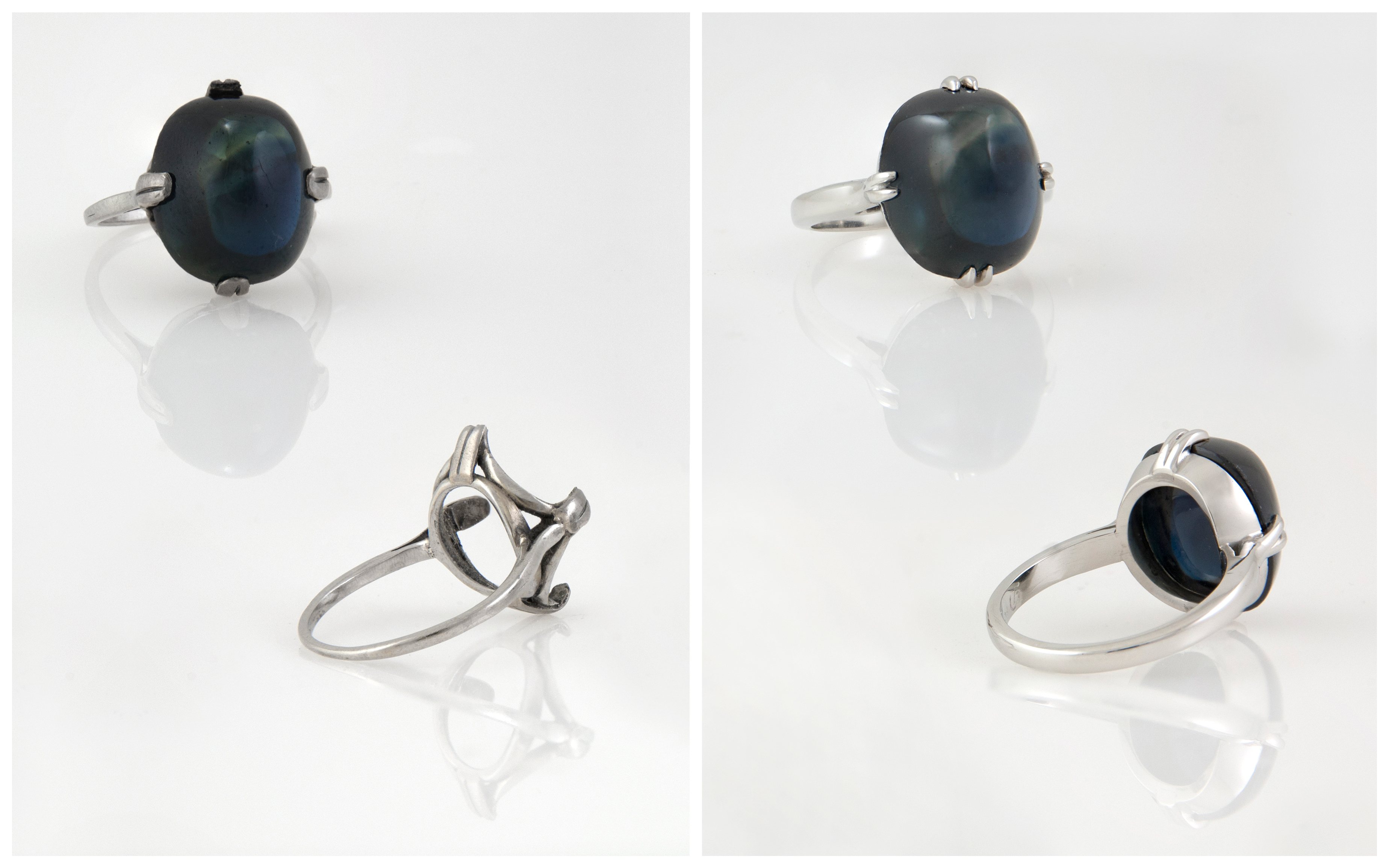 Hand Fabricated Platinum Cabochon Sapphire Ring B&A