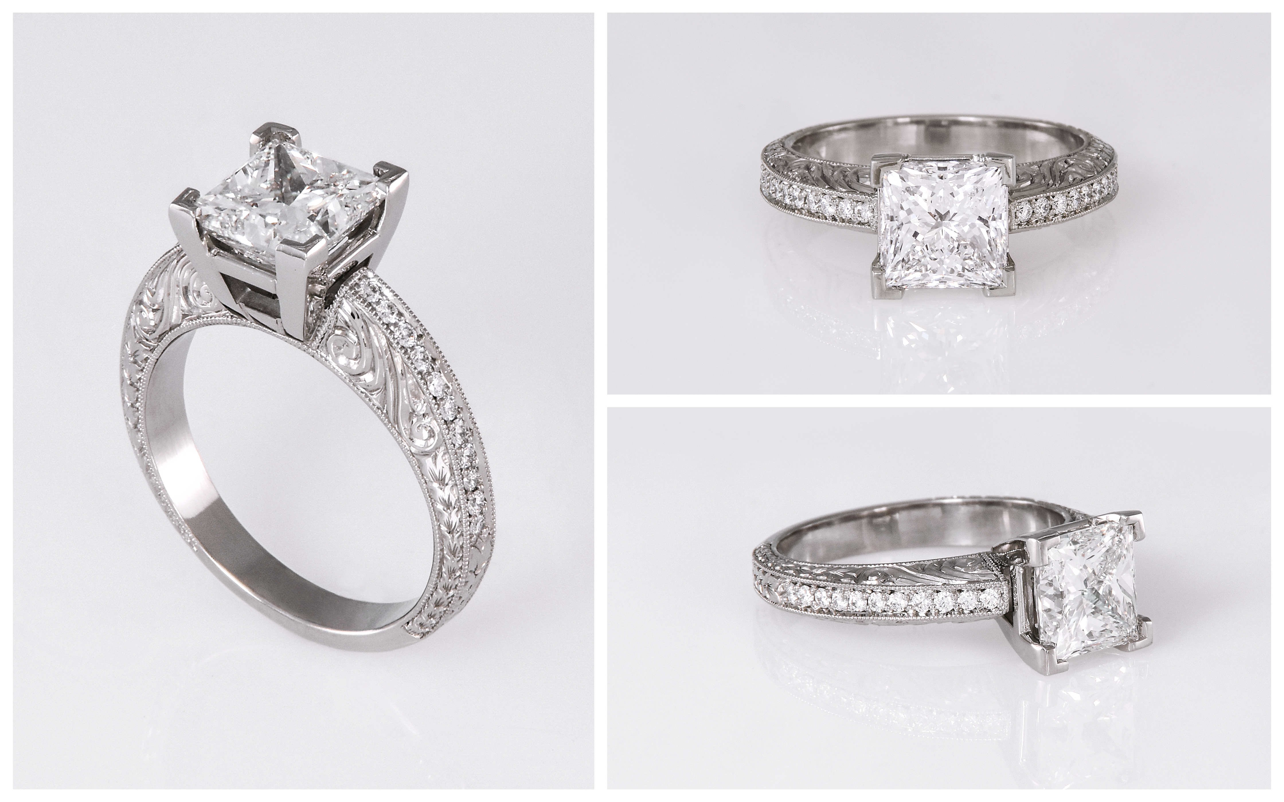 Hand Engraved Princess Cut Diamond Engagement Ring