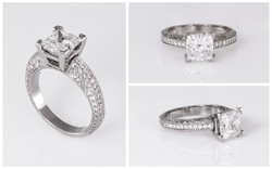 Hand Engraved Princess Cut Diamond Engagement Ring