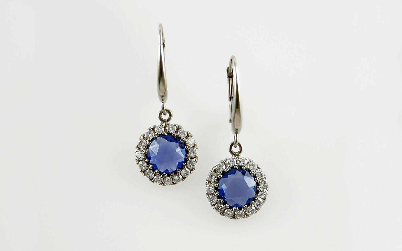 Rose Cut Sapphire & Diamond Leverbacks