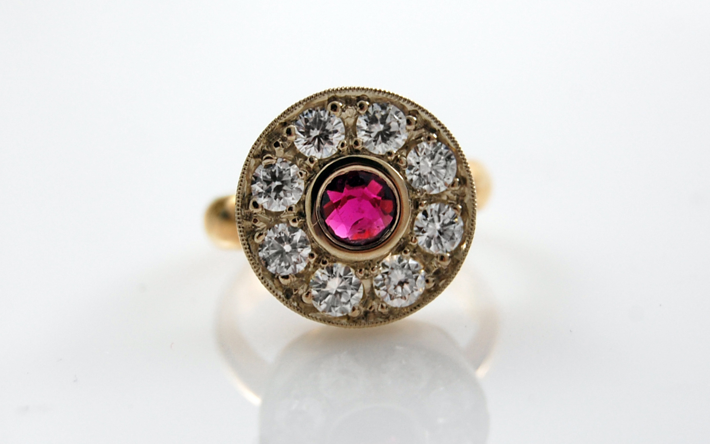Two Tone Ruby & Diamond Halo