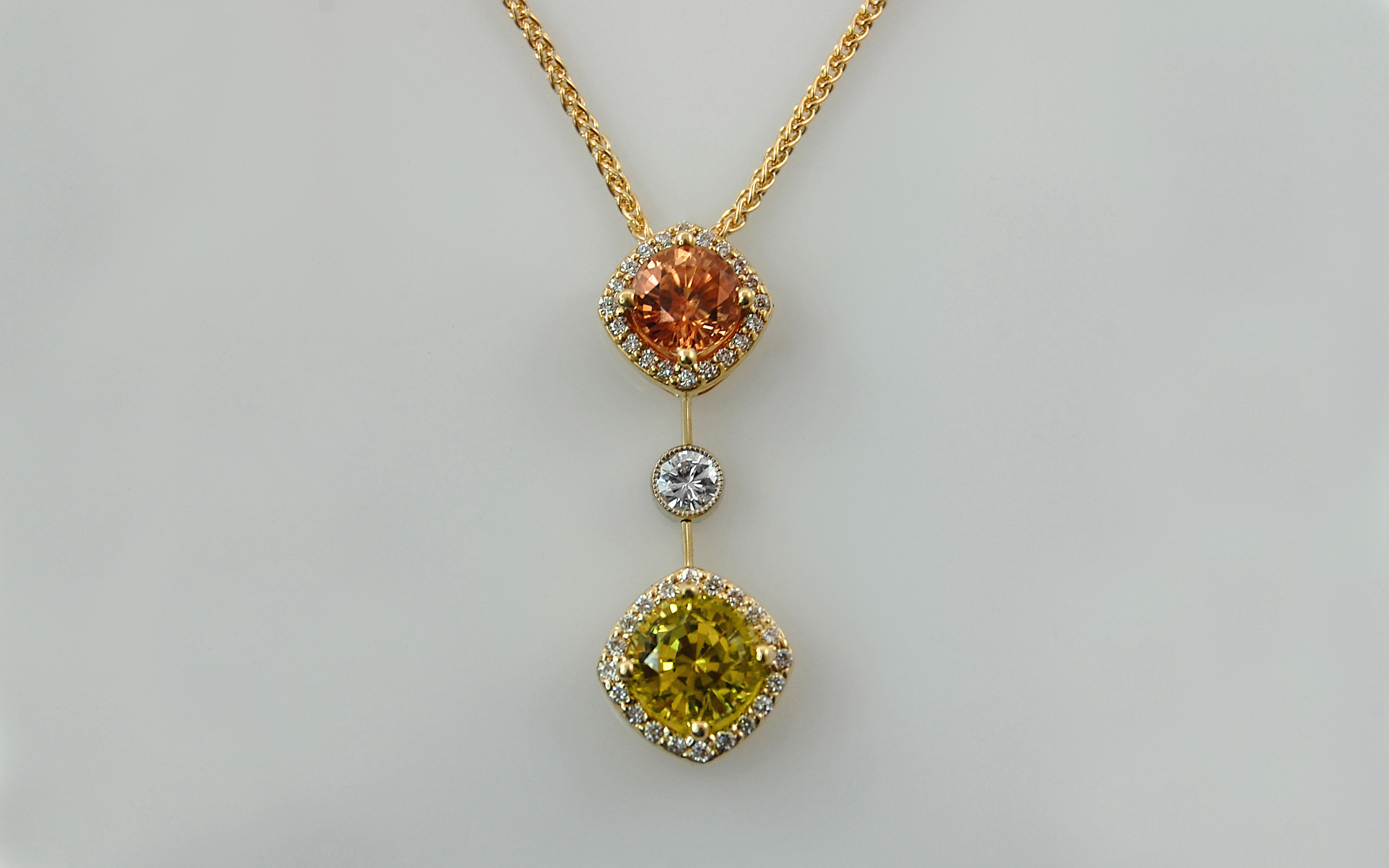 Yellow Sapphire & Brown Zircon Double Halo
