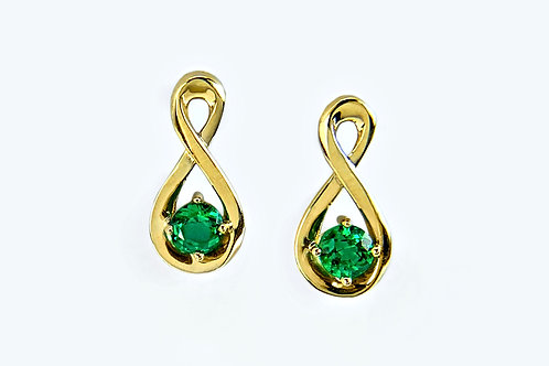 14KY Emerald Infinity Stud Earrings
