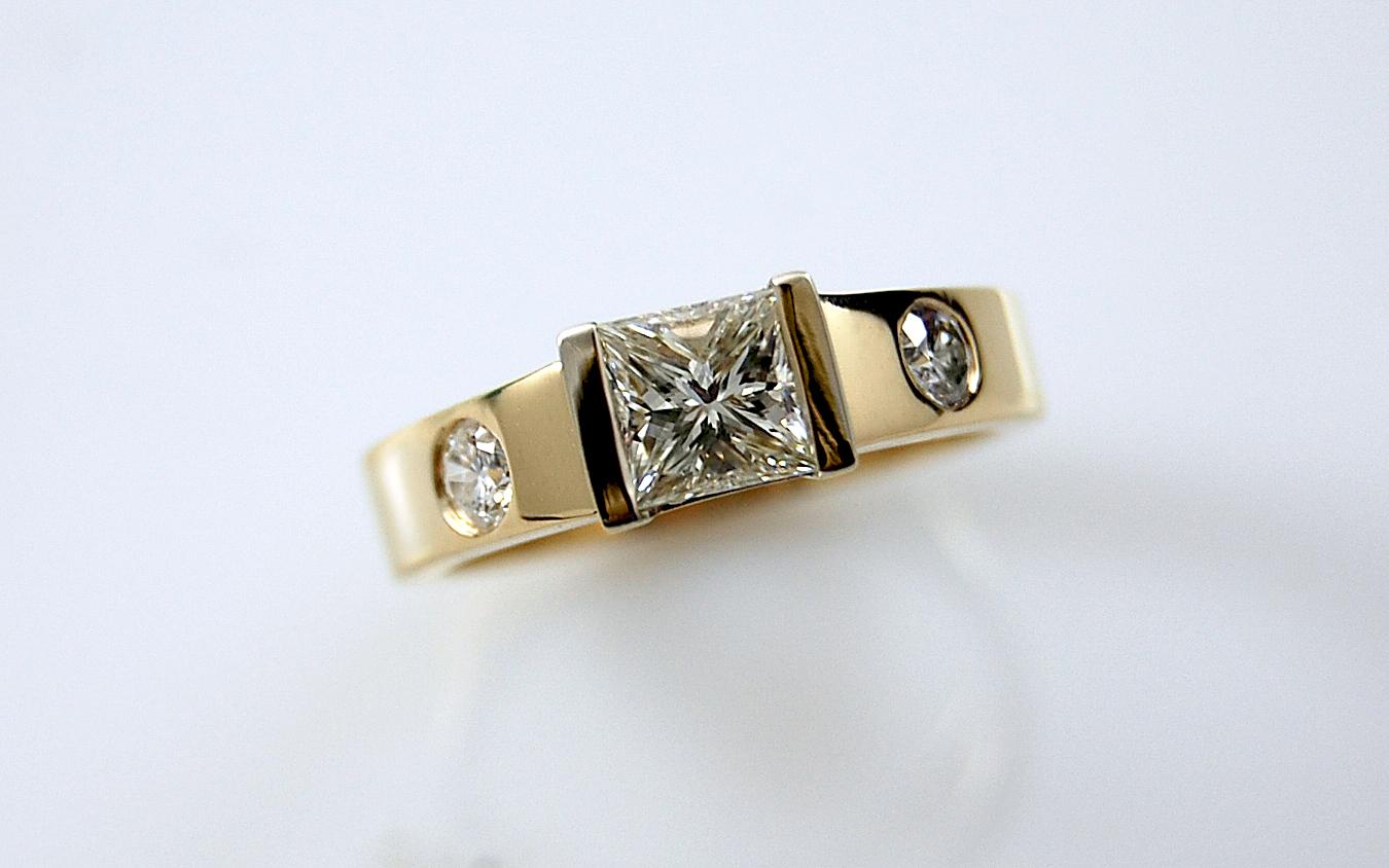 1 carat Princess Cut with Diamond Flush Set in Band