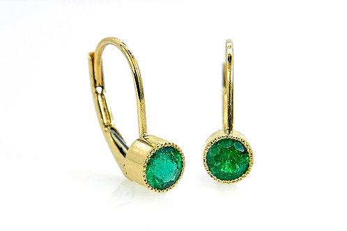 14KY Emerald Bezel Earrings with Milgrain