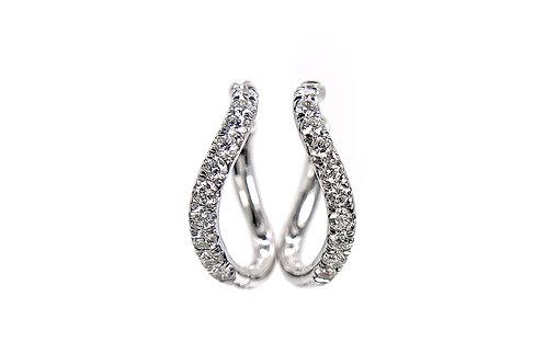 14KW Diamond Huggie Hoop Earrings