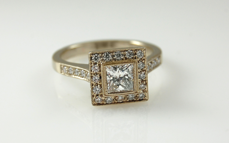 Diamond Halo with .73 carat Princess Cut Center