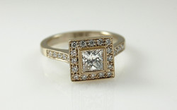 Diamond Halo with .73 carat Princess Cut Center