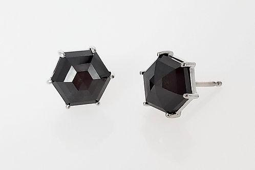 14KW Hexagon Rose Cut Black Diamond Earrings