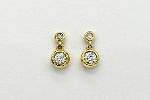 14KY Double Bezel Diamond Earrings
