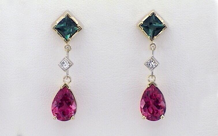 Pink & Green Tourmaline with Diamond