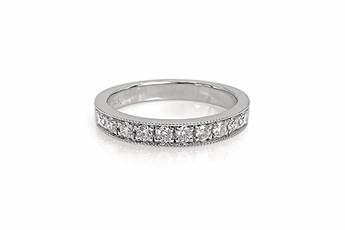 14KW Diamond Bead Bright Cut Band