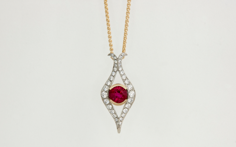 14KTT Ruby and Diamond Pendant