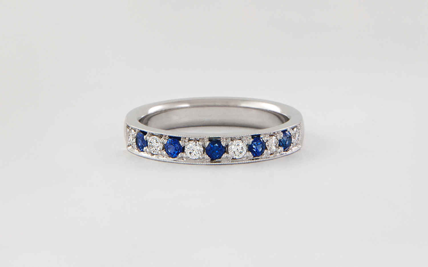 14KW 3mm Bead Set Sapphire and Diamond Band