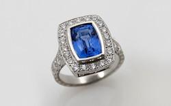 Hand Fabricated, Hand Engraved Sapphire & Diamond Halo