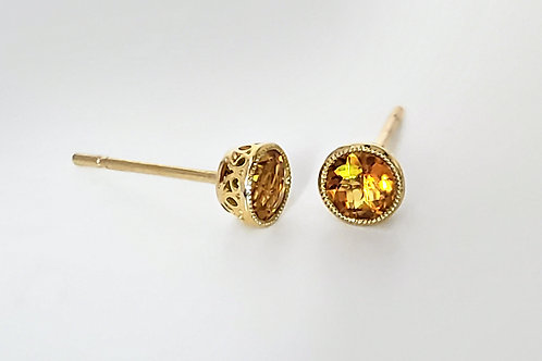 14KY Bezel Set Citrine Stud Earrings