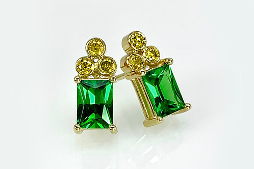 14KY Tsavorite Garnet and Natural Fancy Yellow Diamond Earrings