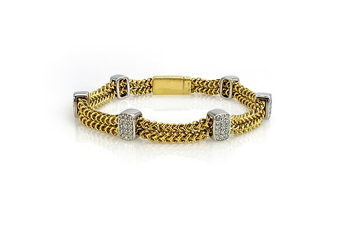 14KY/W Double Wheat Bracelet with Pave Diamonds Sections