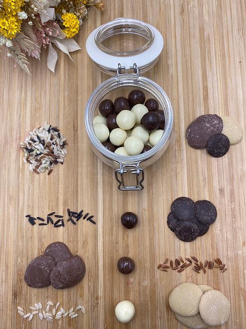 Boules 3 chocolats croustillants - 100g