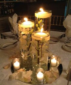 Centerpiece-Cylinders with orchids