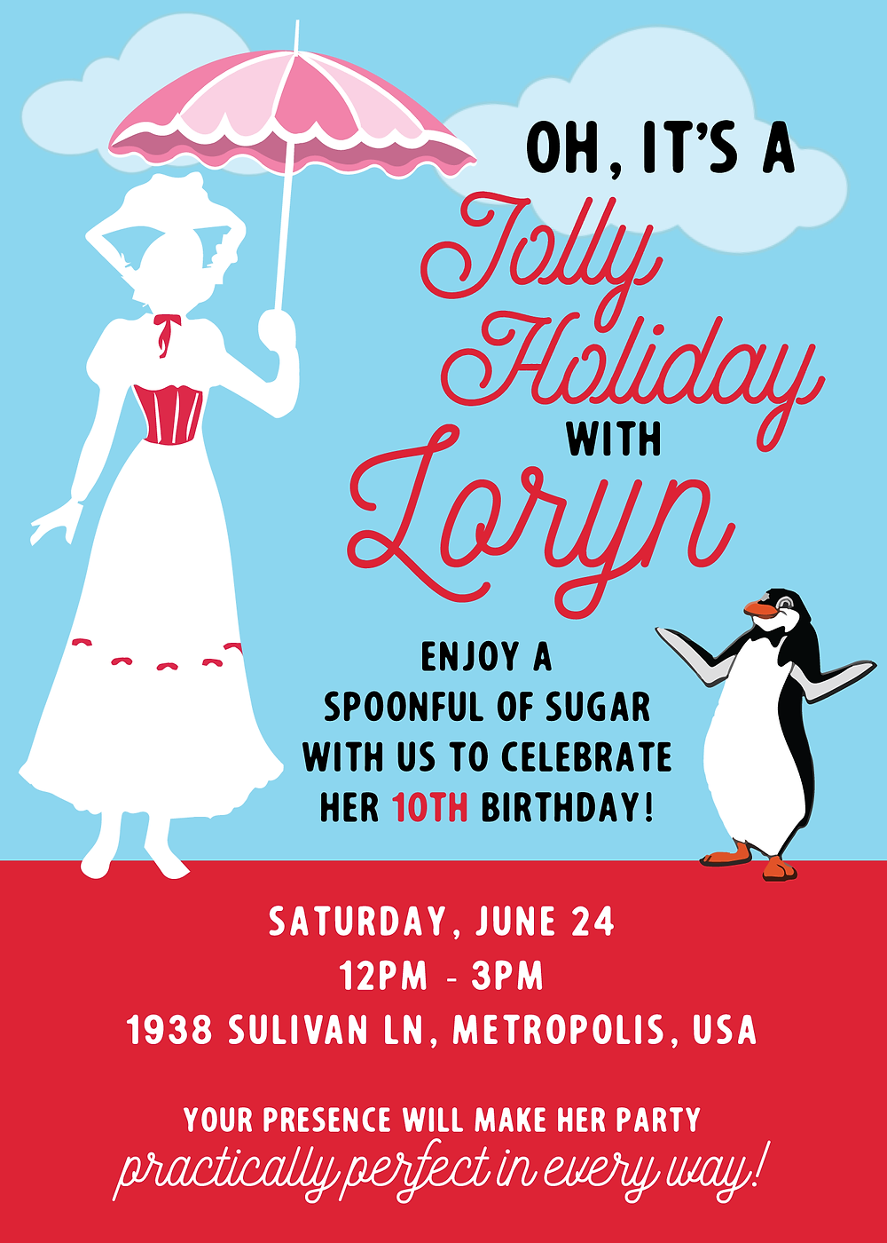 Loryn Design Co - Poppins Inspired Invitation