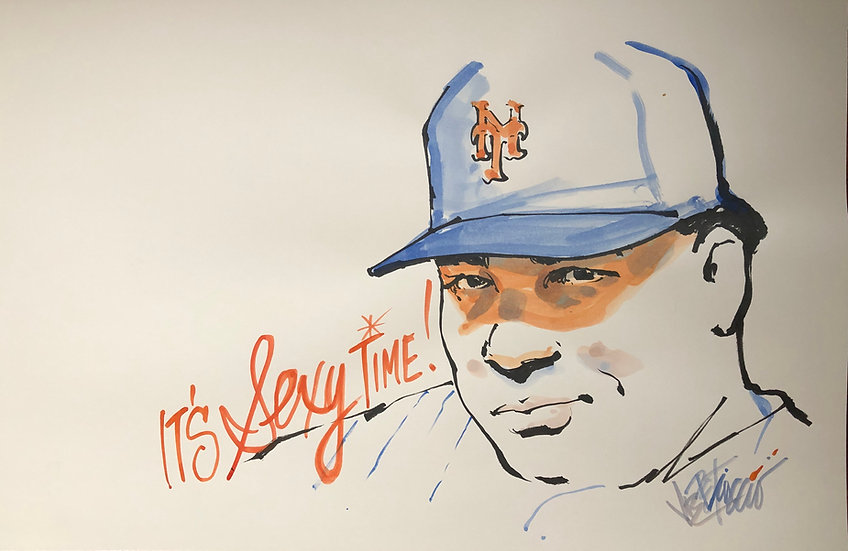 BIG SEXY Bartolo Colon Original Watercolor NY METS Art by Joe Petruccio