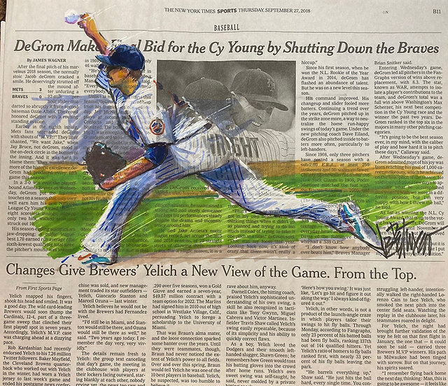 SHUTTING DOWN THE BRAVES Jacob deGrom METS Original Art by Joe Petruccio