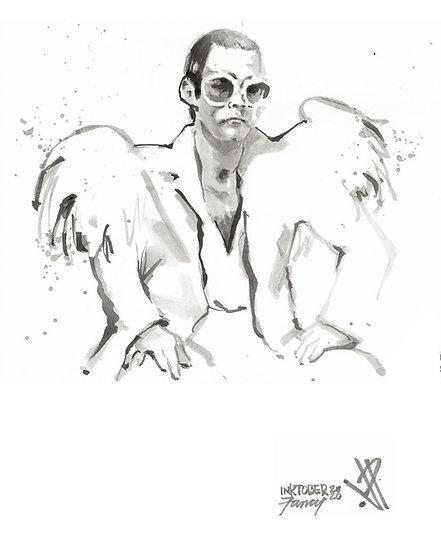 07 FANCY Original Ink on Paper by Joe Petruccio ELTON JOHN