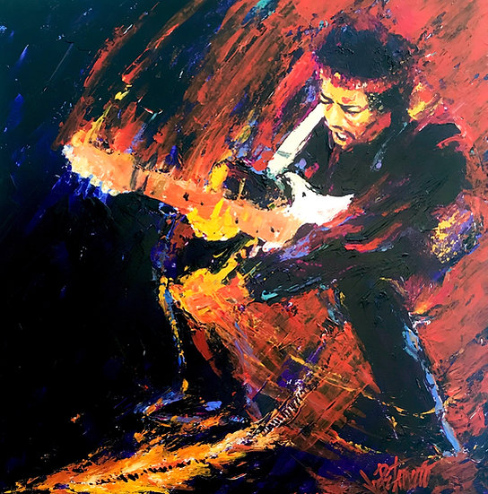 Jimi Hendrix - LET ME STAND NEXT TO YOUR FIRE Original Acrylic on Canvas