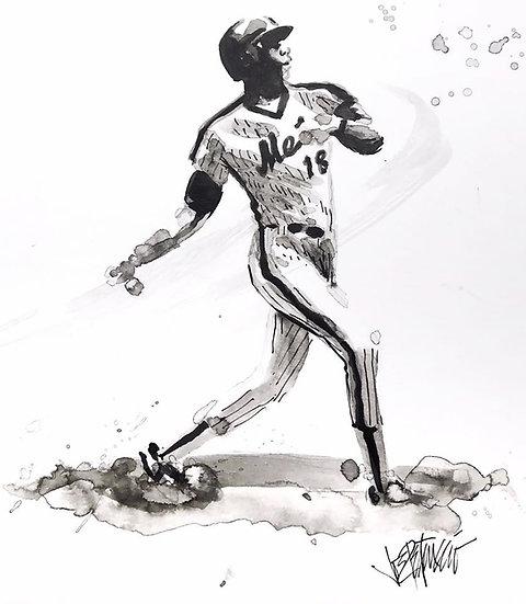 09 SWING Original Ink on Paper by Joe Petruccio - METS Darryl Strawberry