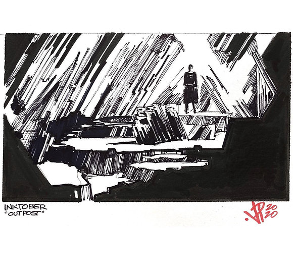 15 OUTPOST Original Ink on Paper by Joe Petruccio FORTRESS OF SOLITUDE