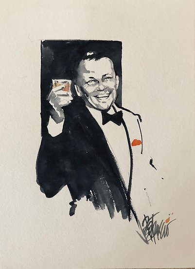 A TOAST TO THE CHAIRMAN Original Frank Sinatra Watercolor by Joe Petruccio