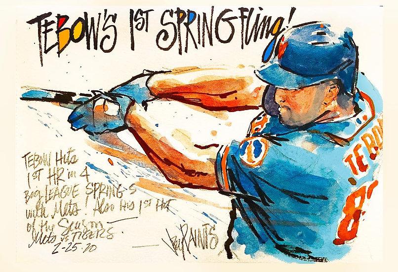 TEBOW'S 1ST SPRING FLING Tim Tebow Original METS Watercolor by Joe Petruccio